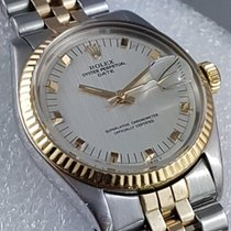 Rolex Date bi-metal yellow gold and steel OP fancy silver dial