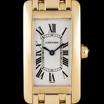 Cartier 18k Yellow Gold Silver Roman Dial Tank Americaine Ladies