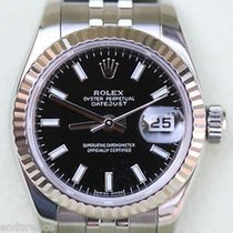 Rolex Ladies Datejust 179174 Stainless Steel White Gold Fluted...