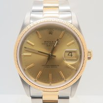 Rolex Oyster Perpetual Date 18k Gold Steel Ref. 15223