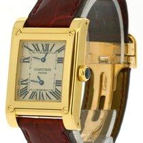 Καρτιέρ (Cartier) 18k Yellow Gold Tank a Vis, Two-Time Zone,...