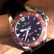 Hamilton KHAKI NAVY FROGMAN TITANIUM AUTO Red-Black Rubber...