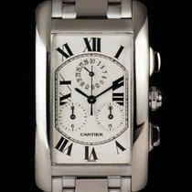 Cartier 18k W/G Tank Americaine Chronoflex B&P W26033L1