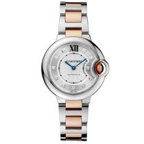 Cartier Ballon Bleu 33mm Steel & 18K Rose Gold Diamond Dial