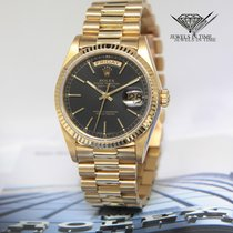 Rolex Day-Date President 18k Yellow Gold Black Dial Mens Watch...