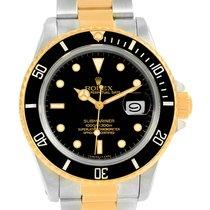 Rolex Submariner Steel 18k Yellow Gold Black Dial Watch 16803