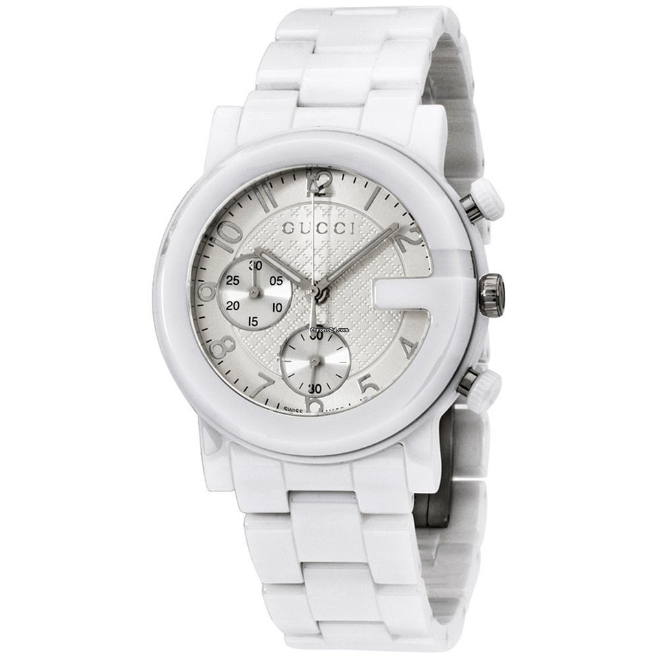 97402d95ce4 Gucci Chrono Silver Dial Ceramic Band Ladies Watch Ya101353 for S ...