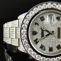 Rolex 35 Ct New Mens Fully Iced Out Genuine Diamond Rolex Date...