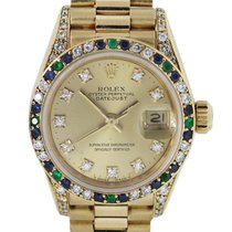 Rolex Datejust 69138S Diamond, Sapphire, Emerald Bezel Ladies...