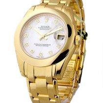 Rolex Unworn 81208_white_mop_dd Mid Size Yellow Gold Masterpie...