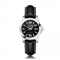 Longines Conquest Quartz Stainless Steel Black Dial Ladies...