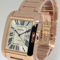 Cartier Tank Anglaise XL 18k Rose Gold Mens Automatic Watch...