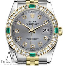 Rolex Ladies Rolex 31mm Datejust 2tone Grey Color Dial With...