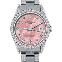 Rolex Date Ladies's 34mm Red Mother Of Pearl Dial Stainles...