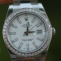 Rolex Mens Datejust Ii Stainless 116300 41mm 1.7ct Diamond...