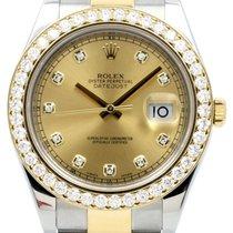 Rolex Datejust II 116333 Champagne Diamond Custom Diamond...