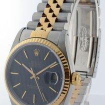 Rolex Datejust 18k Gold & Steel Black Tapestry Dial Mens...