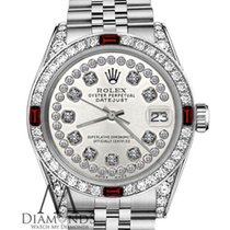 Rolex 36mm Datejust Stainless Steel Silver Diamond String...