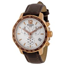 Tissot Quickster Chronograph White Dial Brown Leather Mens...