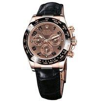 Rolex Daytona Rose Gold Leather Strap Watch