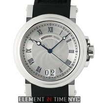 Breguet Marine Big Date Stainless Steel 39mm Silver Dial...