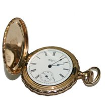"Elgin 14k Muti-Tone Gold Elgin Antique Pocket Watch 1.5""..."