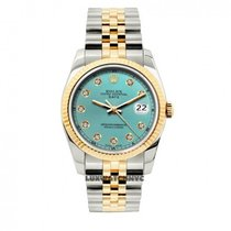 Rolex Date Unisex 34mm Ice Blue Dial Stainless Steel And Gold...
