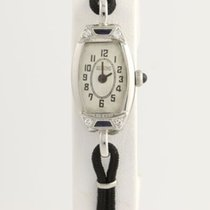 "Glycine Art Deco Diamond Watch Women's Vintage 7"" - 18k White..."