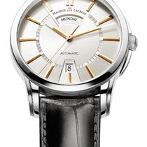 Maurice Lacroix Pontos Day/Date Silver Dial Gold Index Black...