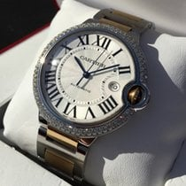 Cartier Ballon Bleu Gold Steel Diamonds Guilloche Dial 42 mm
