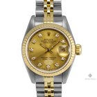 Rolex Datejust Steel and Gold Champagne Diamond Square...