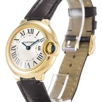 Cartier Ballon Bleu Silver Dial 18KY Leather Band Women Watch...