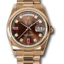 Rolex Day Date President 18K Solid Rose Gold Diamonds / Rubies