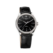 Rolex 50709RBR Cellini Black Diamond Dial Diamond Bezel White...