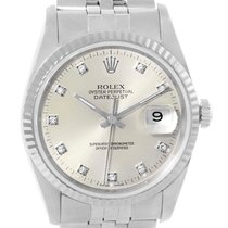 Rolex Datejust Steel White Gold Silver Diamond Dial Mens Watch...