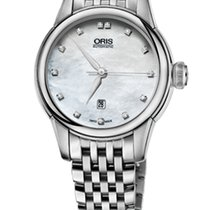 Oris Artelier Date Diamonds Steel Nacre