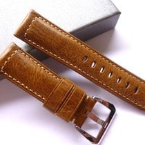 handmade 24/22mm Brown leather band - 24mm Strap Panerai style