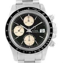Tudor Big Block Black Dial Steel Vintage Mens Watch 79160 Box...