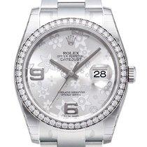 Rolex Datejust 36 Weißgold Diamant Lünette 116244 Silber Fl...