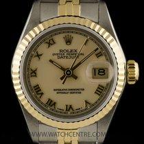 Rolex Steel & 18k Y/G O/P Cream Roman Dial Datejust Ladies...