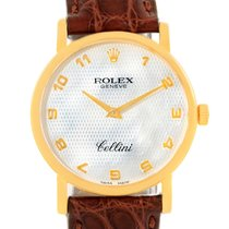Rolex Cellini Classic Yellow Gold Mother Of Pearl Brown Strap...