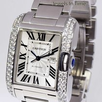 Cartier Large Tank Anglaise Steel & Diamond Automatic...