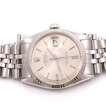 Rolex Mens Datejust Watch - Silver Stick Pie Pan Dial -...