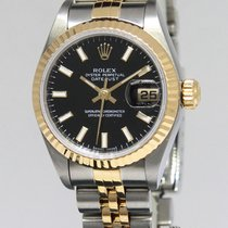 Rolex Datejust 18k Yellow Gold/Steel Black Dial Ladies Watch...