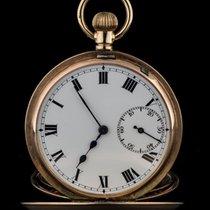 9k Rose Gold White Roman Dial Half Hunter Pocket Watch C1920s