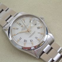 Rolex Date 35 mm mit Oysterband weißes Blatt Schnellschaltung