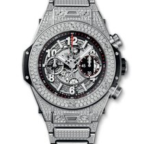 Hublot : 45mm Big Band Unico Titanium Pave Bracelet Watch