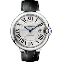 Cartier Ballon Bleu 42mm Steel on Black Leather Strap