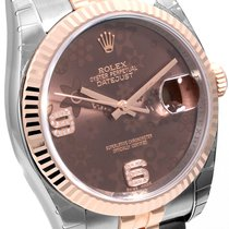 Rolex 18k Rose Gold & Steel 36mm Datejust Floral Diamond...