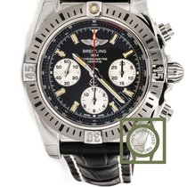 Breitling Chronomat 41 Airborne Black Dial Crocodile Strap NEW